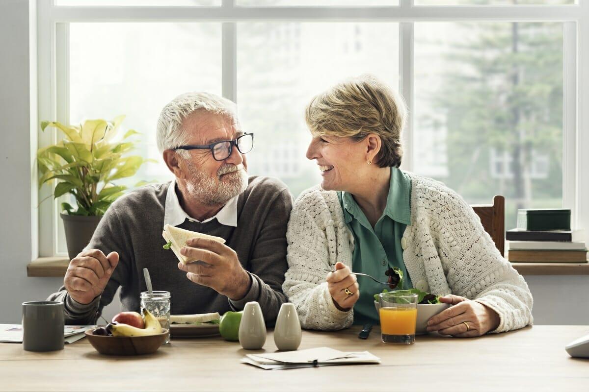 Retired Couple Enjoying Breakfast